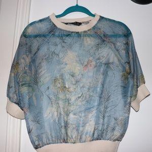 ZARA see-through Floral Shirt